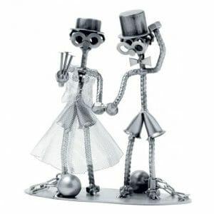 Poroka kovinska skulptura z gravuro, darilo za poročni par