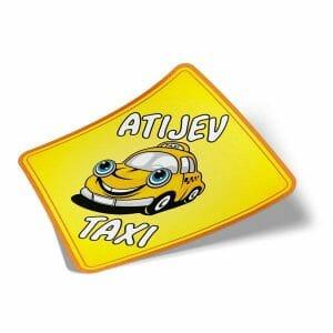 Nalepka za avto atijev taxi rumena