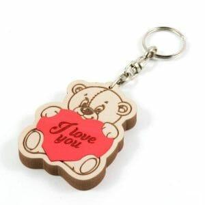 Medved obesek za ključe, medvedek s srčkom z napisom ali imenom