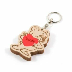 Medvedek obesek za ključe srček z imenom