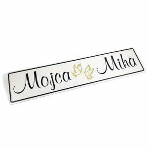 Imenska tablica za poroko z imeni, srebrna poroka, zlata poroka, diamantna poroka, platinasta poroka