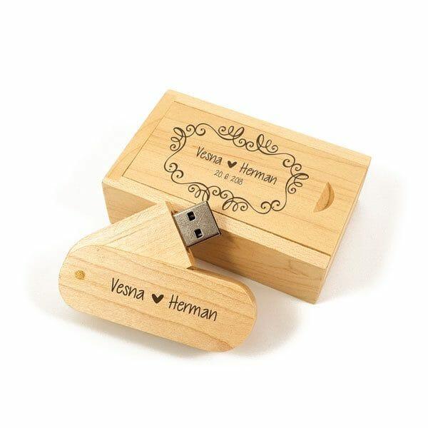 Lesen USB ključek s škatlico, gravura po meri