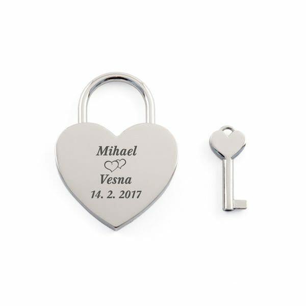 Srebrna ključavnica ljubezni, darilo za pare, darilo za valentinovo