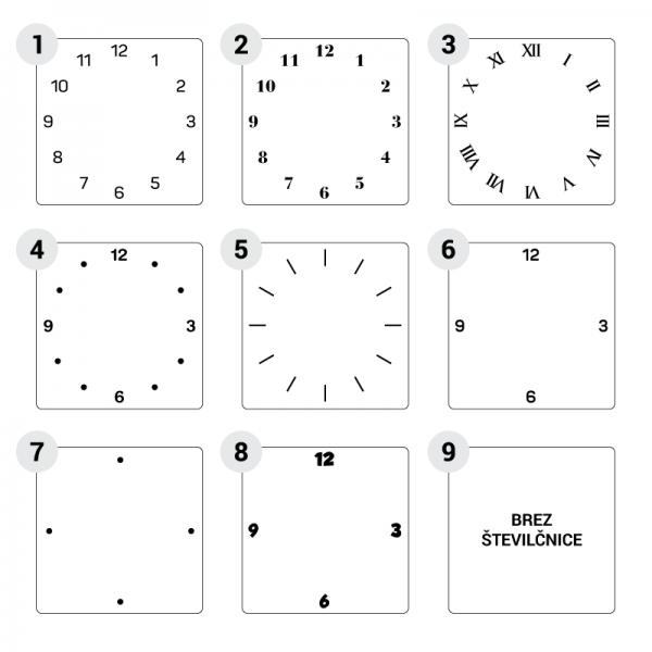 Kvadratna stenska ura stili številčnice