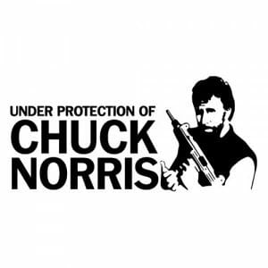 Under protection of chuch norris nalepka za avto