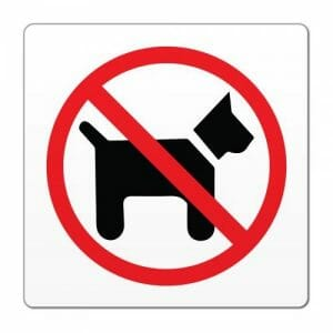 prepovedano za pse, nalepka za pse