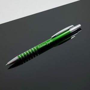 Kovinski zeleni kemični svinčnik z graviranim napisom