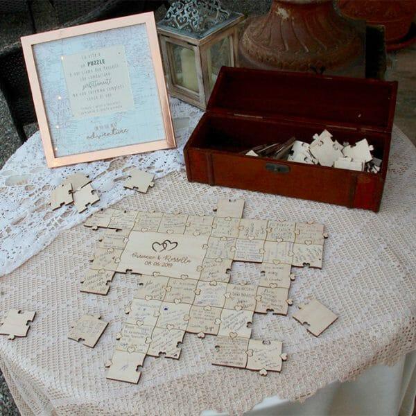 Puzzle za poroko, sestavljanka knjiga gostov