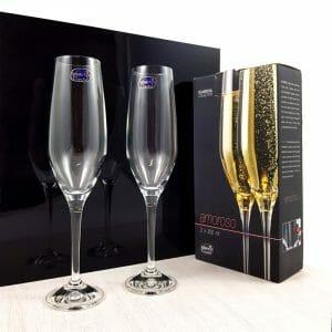 Kozarci za poroko z graviranjem motiva, kristalni kozarci za šampanjec